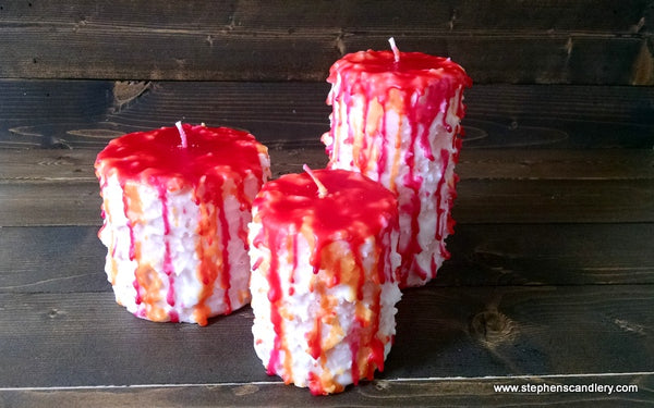Sherbet Hand Caked Pillar Candle