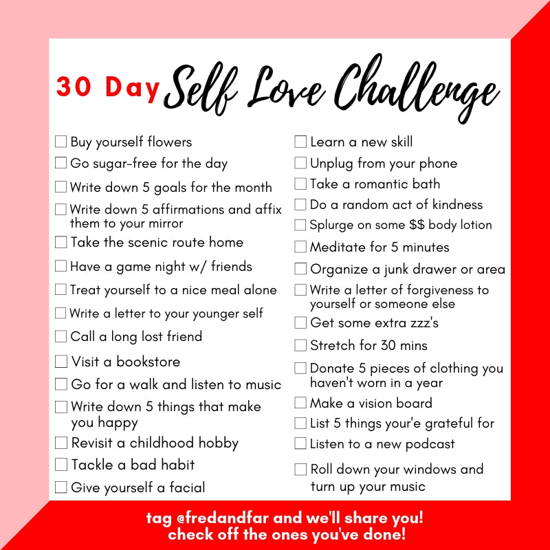 The 30 Day Self Love Challenge Checklist