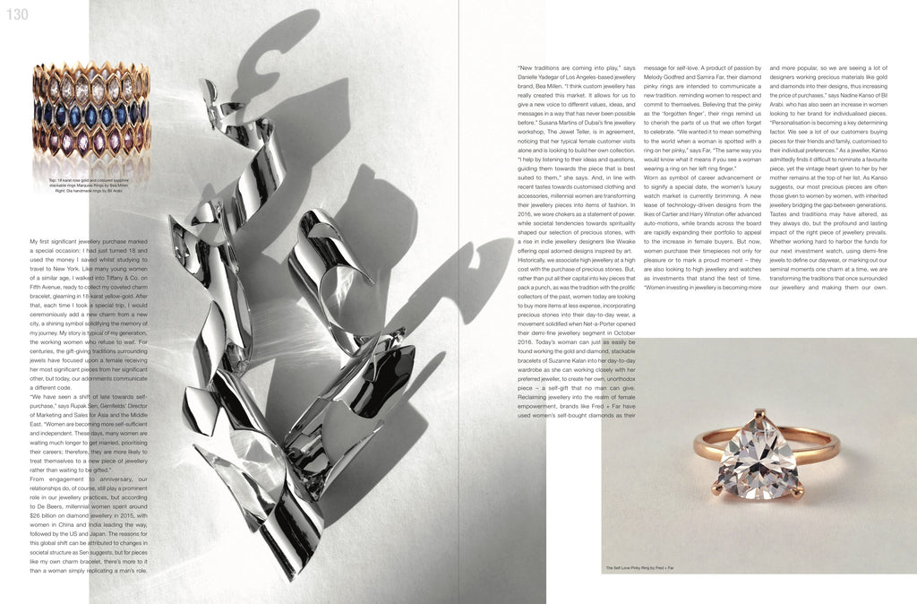 magazine spread empowered jewelry fred and far self love pinky ring