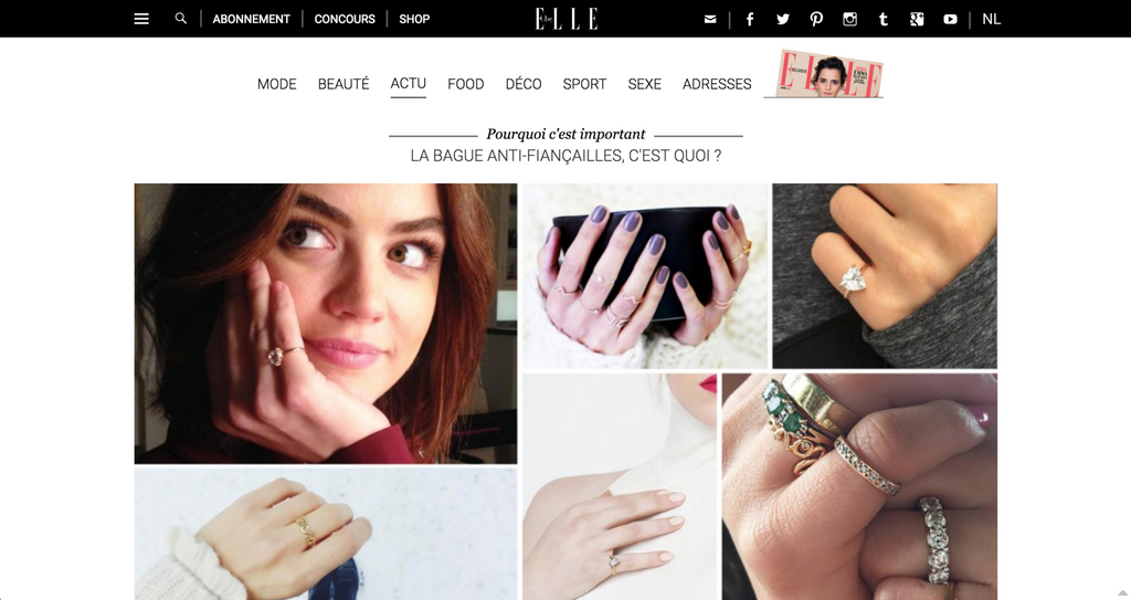 elle magazine fred and far fred+far self love pinky ring