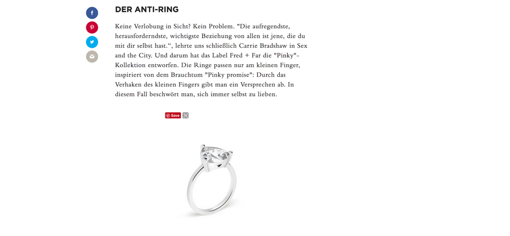harper's bazaar germany self love pinky ring fred and far fred+far