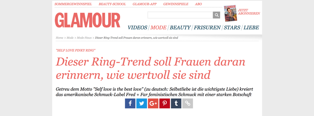 glamour germany fred and far self love pinky ring