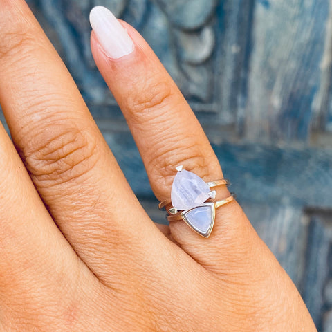 Blue Lace Agate Pinky Rings