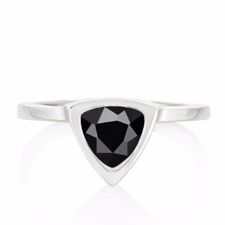Black Spinel Mini Self Love Pinky Ring