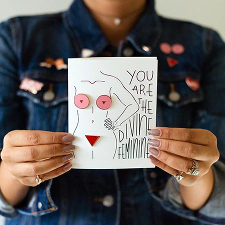 You Are The Divine Feminine Enamel Pin Greeting Card