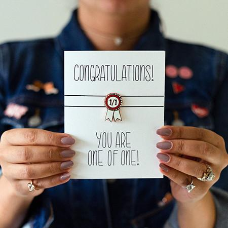 Congratulations (One of One) Enamel Pin Greeting Card