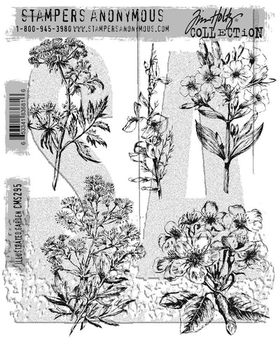Tim Holtz - Stampers Anonymous - ILLUSTRATED GARDEN - STAMP SET