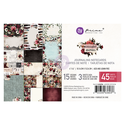 Prima Midnight Garden 4x6 Journal Card Paper Pad