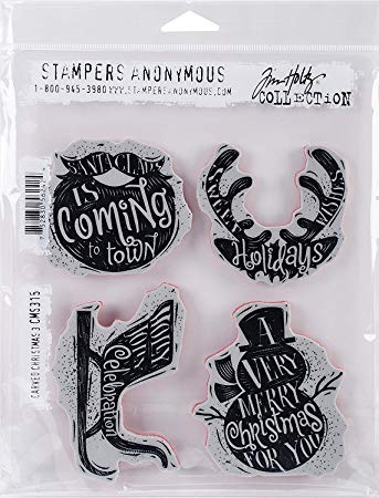 STAMPERS ANONYMOUS - Tim Holtz Cling Stamps - Carved Christmas 3