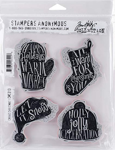 STAMPERS ANONYMOUS - Tim Holtz Cling Stamps - Carved Christmas 1