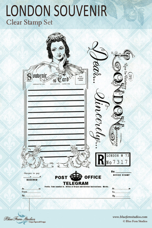 Blue Fern Stamp - London Souvenir Stamp Set - Jane's Memoirs - NEW ! - IN STOCK