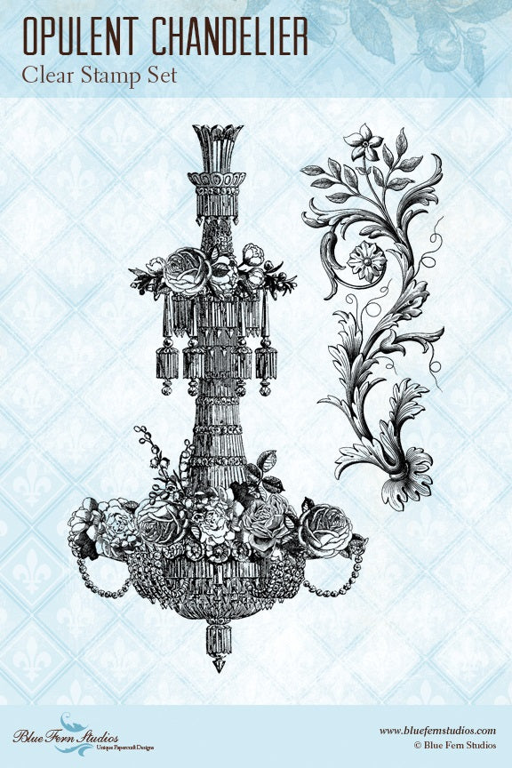 Blue Fern Stamp - Opulent Chandelier Stamp
