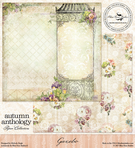 Blue Fern Studios Patterned Paper - Autumn Anthology - Gazebo