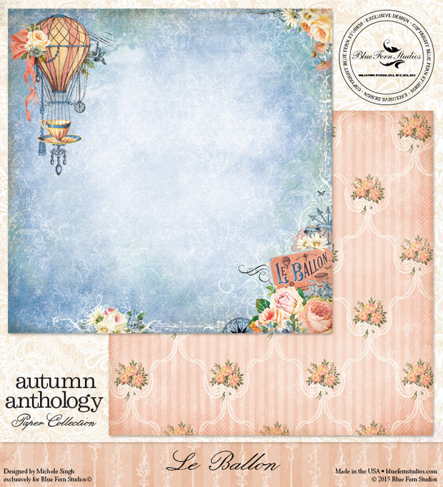 Blue Fern Studios Patterned Paper - Autumn Anthology - Le Ballon