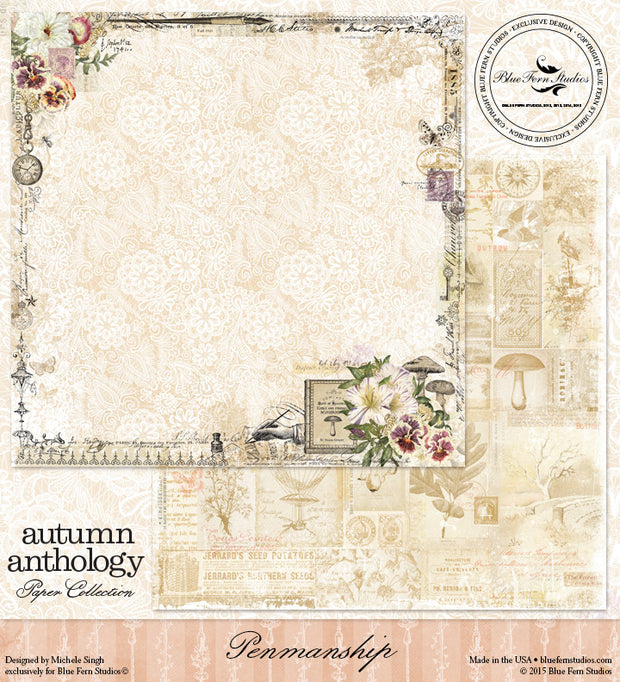 Blue Fern Studios Patterned Paper - Autumn Anthology - Penmanship