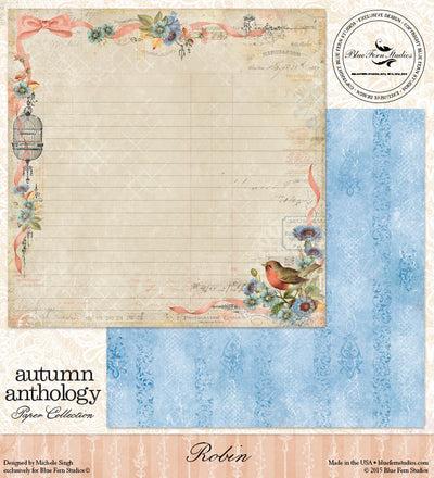 Blue Fern Studios Patterned Paper - Autumn Anthology - Robin