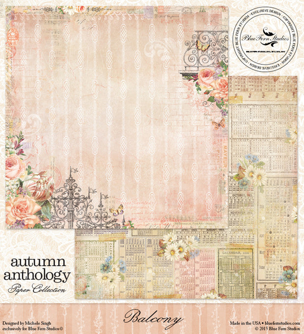 Blue Fern Studios Patterned Paper - Autumn Anthology - Balcony