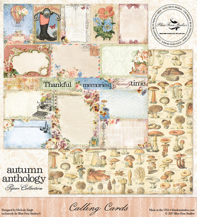 Blue Fern Studios Patterned Paper - Autumn Anthology - Calling Cards