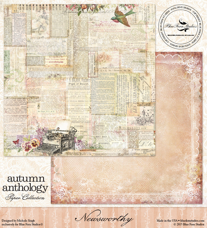 Blue Fern Studios Patterned Paper - Autumn Anthology - Newsworthy