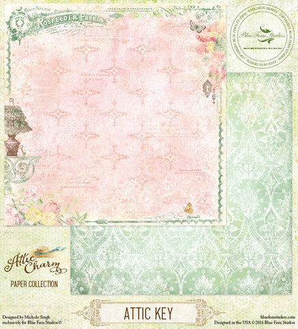 Blue Fern Studios Patterned Paper - Attic Charm - Attic Key