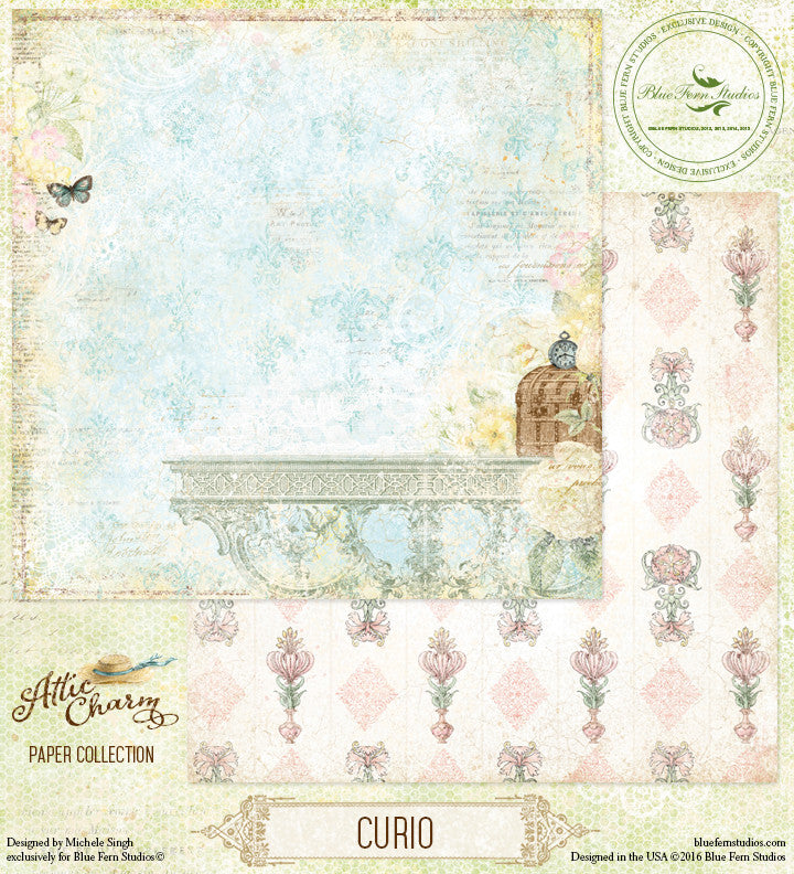 Blue Fern Studios Patterned Paper - Attic Charm - Curio