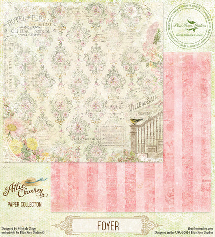 Blue Fern Studios Patterned Paper - Attic Charm - Foyer