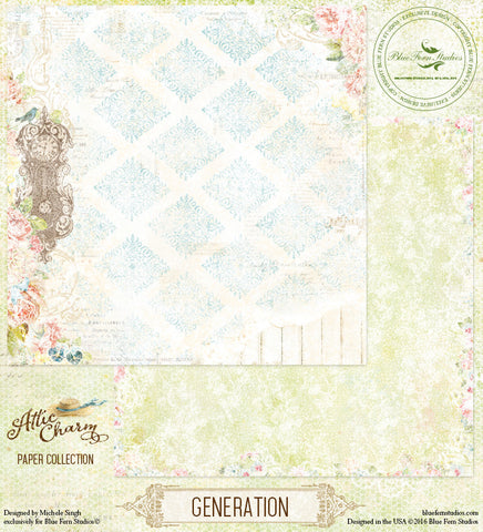 Blue Fern Studios Patterned Paper - Attic Charm - Generation