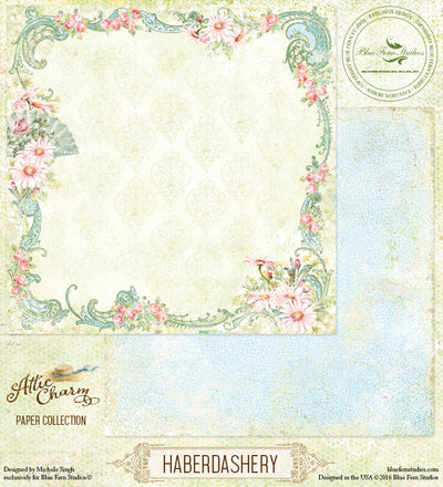 Blue Fern Studios Patterned Paper - Attic Charm - Haberdashery