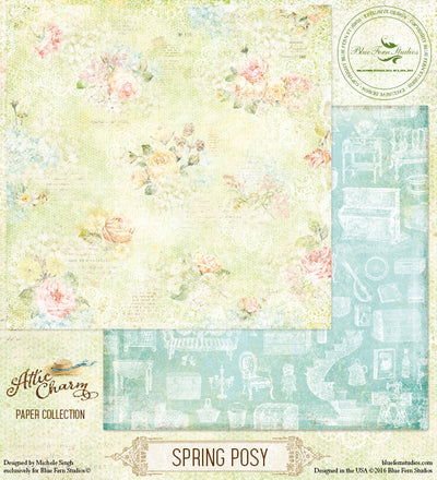 Blue Fern Studios Patterned Paper - Attic Charm - Spring Posy