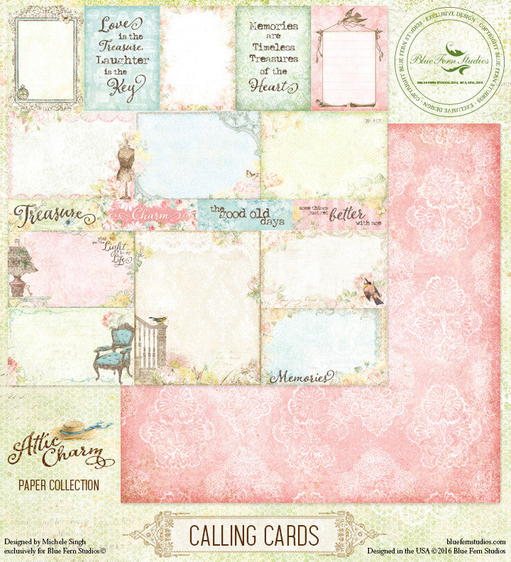 Blue Fern Studios Patterned Paper - Attic Charm - Calling Cards