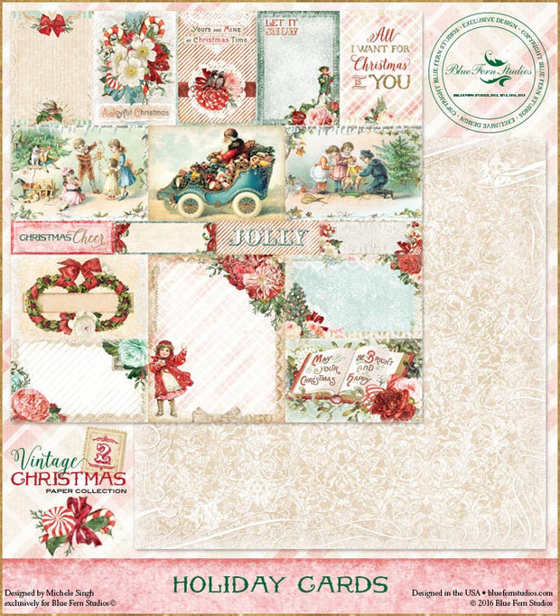 Blue Fern Studios Patterned Paper - Vintage Christmas 2 - Holiday Cards