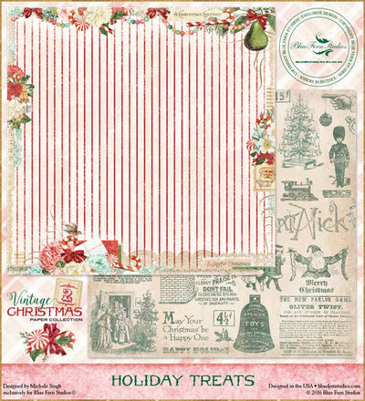 Blue Fern Studios Patterned Paper - Vintage Christmas 2 - Holiday Treats