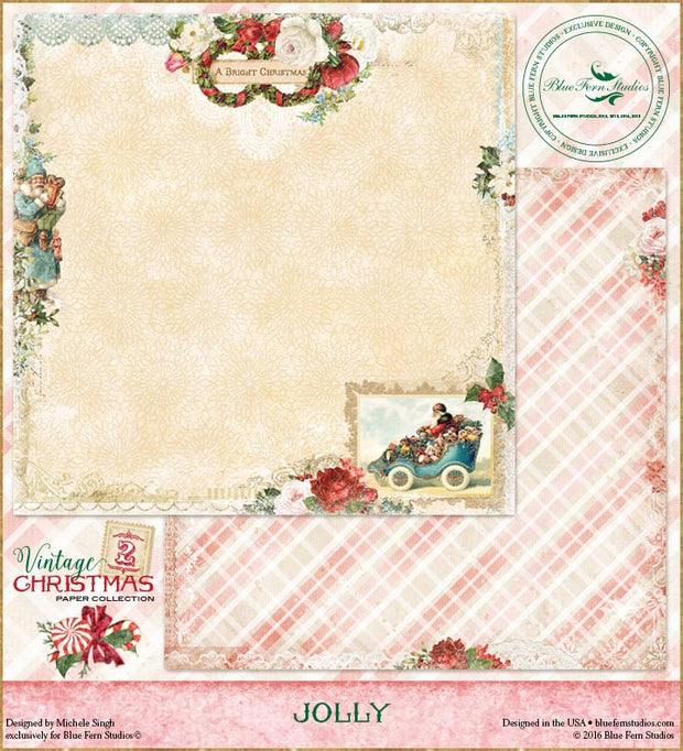 Blue Fern Studios Patterned Paper - Vintage Christmas 2 - Jolly