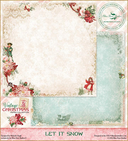 Blue Fern Studios Patterned Paper - Vintage Christmas 2 - Let it Snow