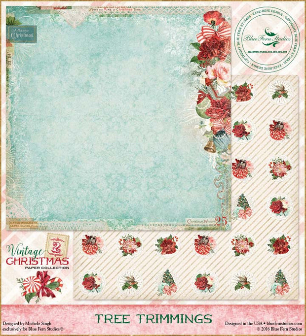 Blue Fern Studios Patterned Paper - Vintage Christmas 2 - Tree Trimmings