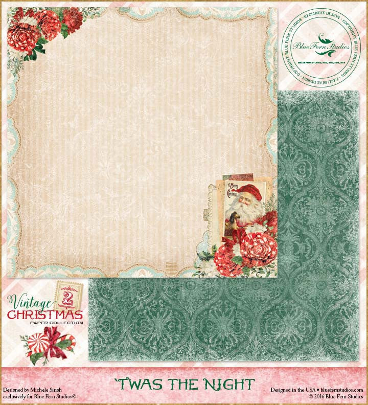 Blue Fern Studios Patterned Paper - Vintage Christmas 2 - Twas the Night