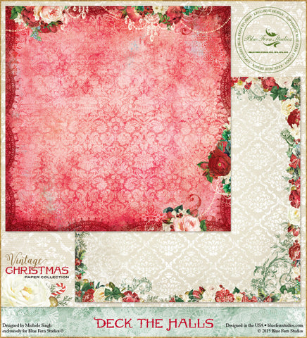 Blue Fern Studios Patterned Paper - Vintage Christmas - Deck the Halls