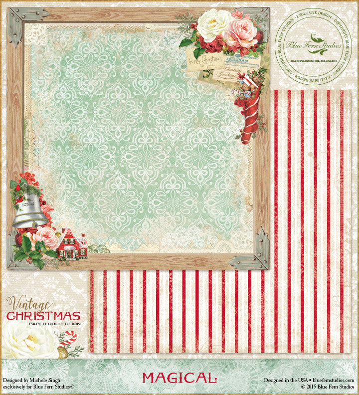 Blue Fern Studios Patterned Paper - Vintage Christmas - Magical