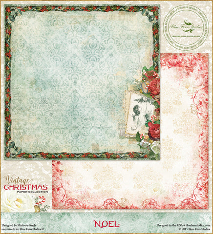 Blue Fern Studios Patterned Paper - Vintage Christmas - Noel