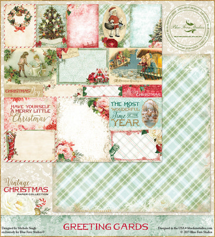 Blue Fern Studios Patterned Paper - Vintage Christmas - Greeting Cards