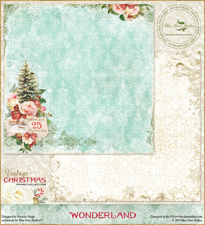 Blue Fern Studios Patterned Paper - Vintage Christmas - Wonderland