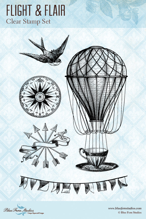 Blue Fern Stamp Set - Flight & Flair