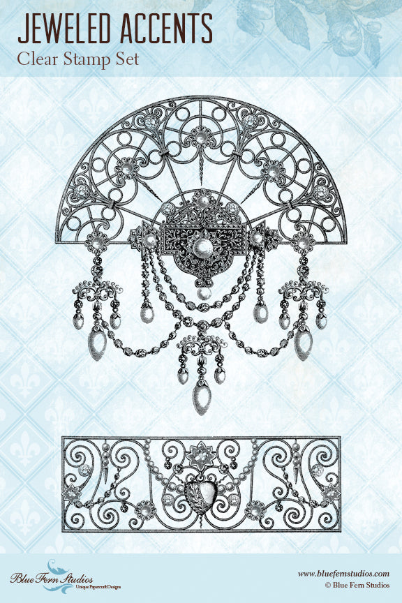 Blue Fern Stamp - Jeweled Accents Stamp Set