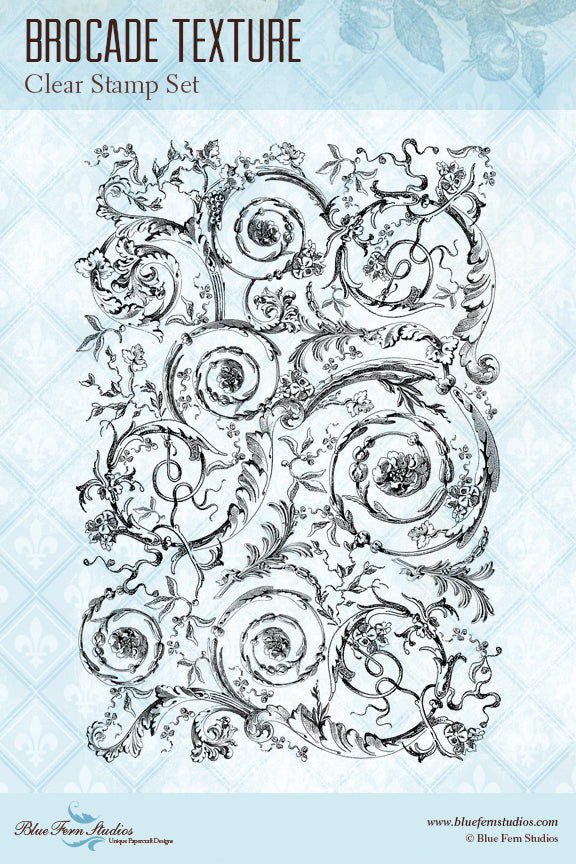 Blue Fern Stamp - Brocade Texture Stamp