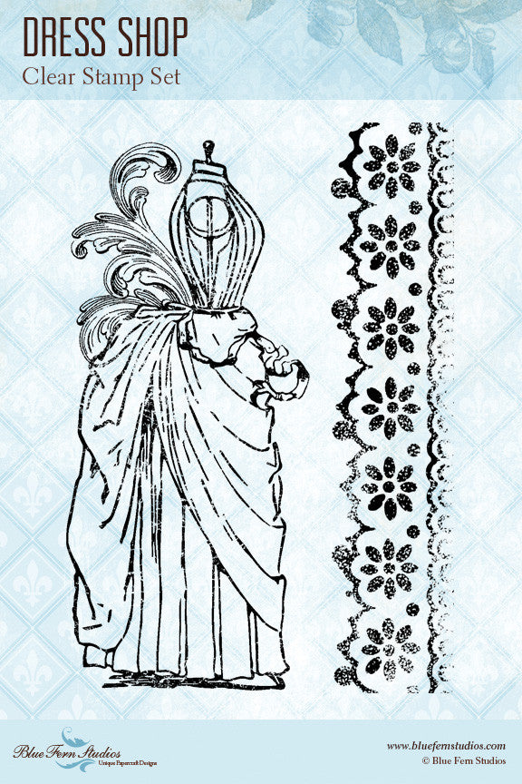 Blue Fern Stamp - Dress Shop Stamp Set