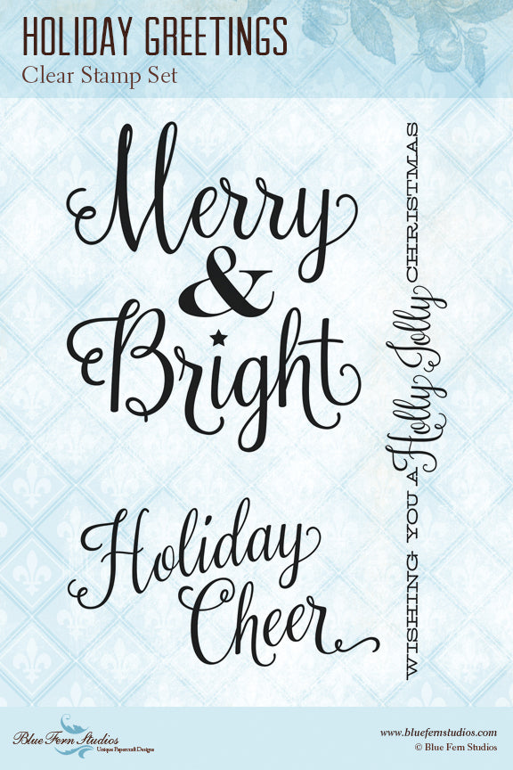 Blue Fern Stamp - Holiday Greetings - Stamp Set