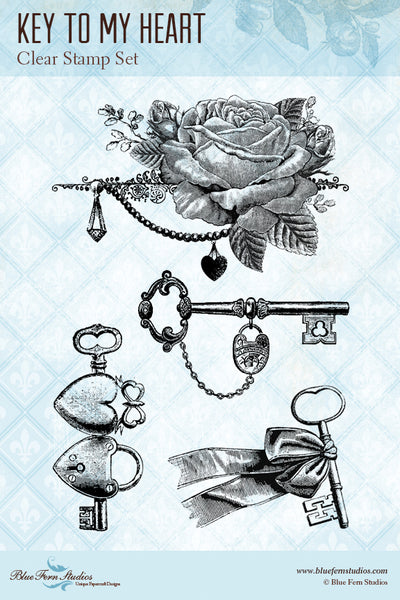 Blue Fern Stamp - Key to My Heart Stamp Set