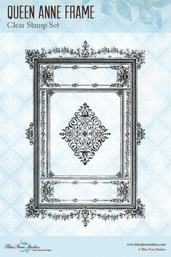 Blue Fern Stamp - Queen Anne Frame Stamp Set