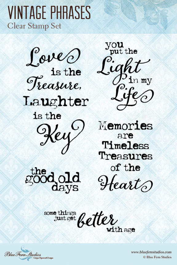 Blue Fern Stamp - Vintage Phrases - Stamp Set