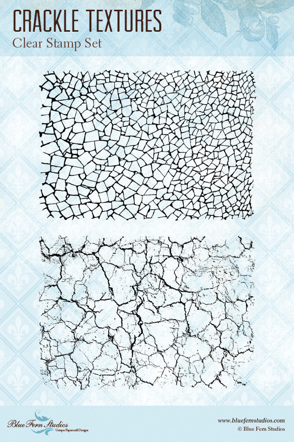 Blue Fern Stamp - Crackle Textures Stamp Set